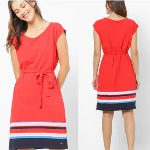 Tommy Hilfiger Colorblock Striped Shift Dress Red